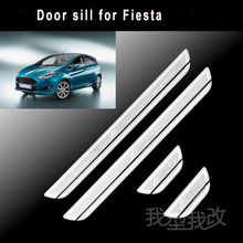 Free shipping 4PCS High quality stainless steel welcome pedal door sill strip door protection for 2012-2015 fiesta accessories