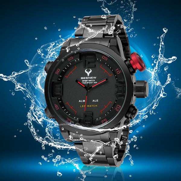 All steel Famous Brand Sports waterproof Quartz Digital Watches For Men High-end herenmode horloges sport geschenken Top Fashion<br><br>Aliexpress