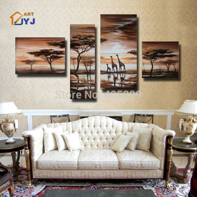 Free Shipping Directly From Artist 4pcs Handpainted Abstract  Landscape  Oil Painting On Canvas  Christmas Decoration JYJLV157