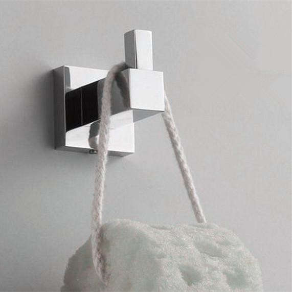 Hotsale NEW HOME DECOR Square Shape Robe Hook Bath Hardware Sets Clothing Hook(China (Mainland))