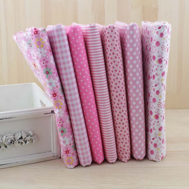 7 pcs 50cm*50cm Pink 100% Cotton Fabric fat quarter for Sewing DIY Quilting Patchwork Tissue Textile Tilda Doll Cloth(China (Mainland))