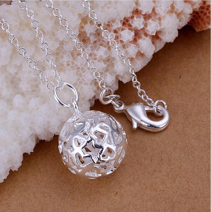 Wholesale 925 Silver Solid Pierced Balls Necklaces Charm Cute Pendant Necklace For Women Jewelry Joyas de plata bijoux P159(China (Mainland))