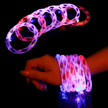12 Pcs/lot Multicolor LED Flashing Bracelet Light Up Acrylic Bangle for Party Bar Halloween,Chiristmas, Hot Dance Gift 2017 New(China (Mainland))
