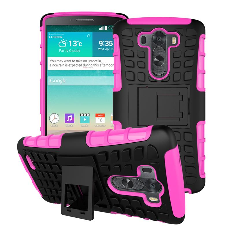 Cover For LG G3 Case D855 D851 F400 Soft Rubber Hybrid PC Fundas Case For LG G3 Fashion Mobile Phone Coque With Holder Stand [