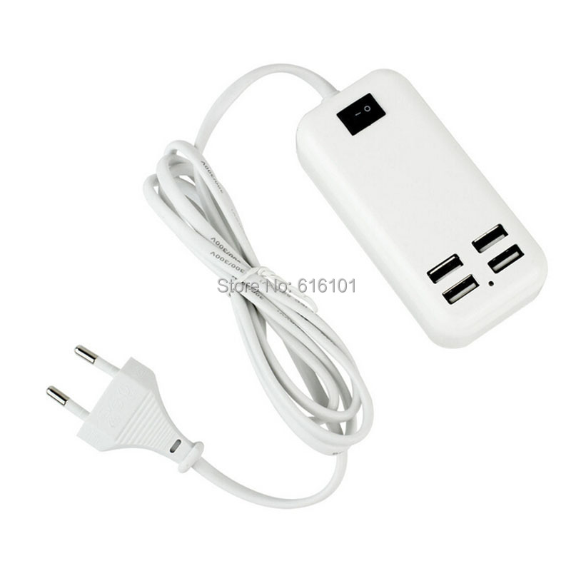 1pc/lot EU AC Power 15W 4 USB Ports Desktop Wall Charger HUB 1.5m For iPhone iPad Tablet Smart Phones White Free Shipping