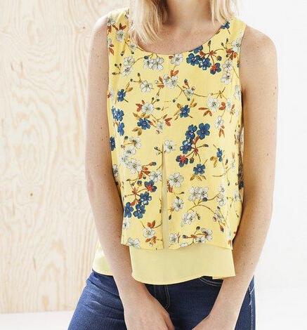 Женщины желтый цветочный рубашку печати старинные ретро O образным вырезом без рукавов ...