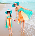Mother Daughter Dresses 2017 Summer Style Family Look Mom and Daughter Dress Vacation Beach Dress Family