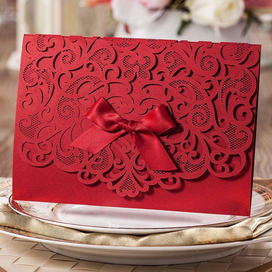 1sample new Elegant Red Laser Cut Floral Wedding Invitation with ...