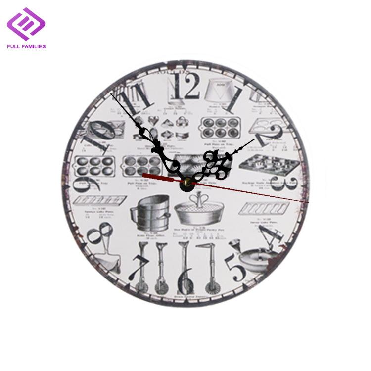 12 cm en bois antique horloge murale pour cuisine europ enne mur horloges rel gios de parede. Black Bedroom Furniture Sets. Home Design Ideas