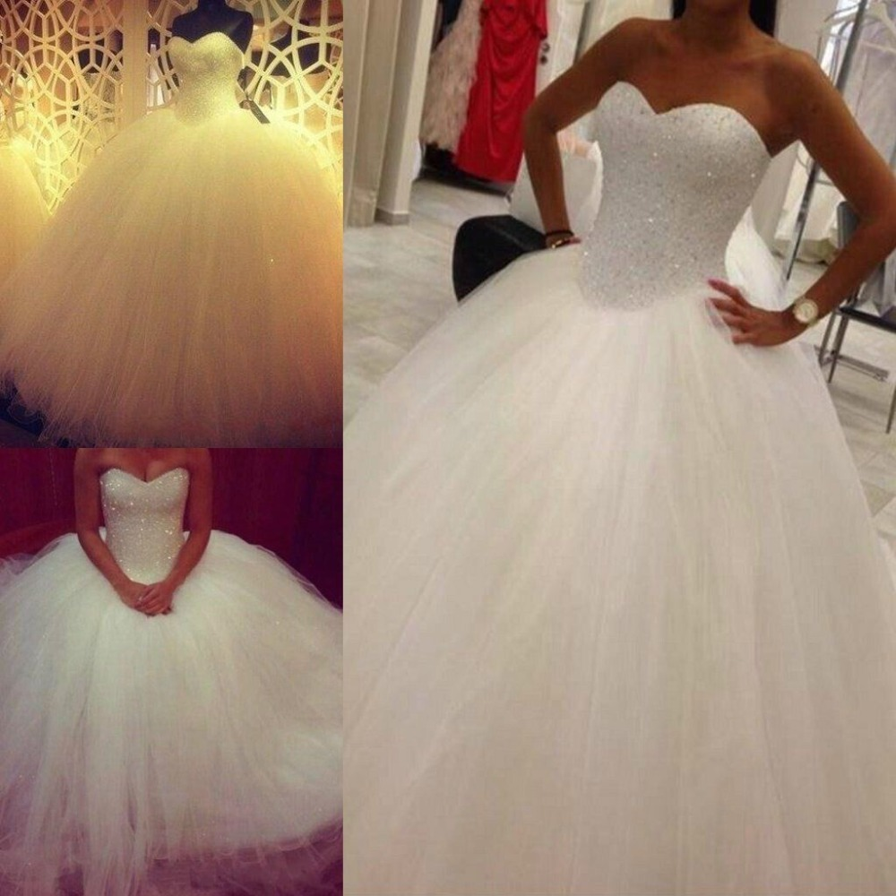Princess Bling Luxury Crystals White Wedding Dress Gown 2015 Bridal Wedding Gown