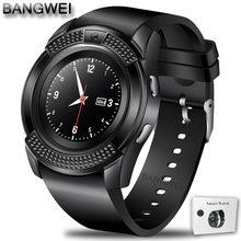 Homens Mulheres relógio de Pulso Relógio Inteligente Apoio BANGWEI Com Câmera Bluetooth Tf SIM Smartwatch Para Android Ios Telefone Relógio Casal(China)