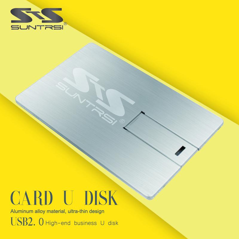 Suntrsi Metal usb flash drive usb2.0 pen drive 64gb Drawing Card Type usb stick 32g Flash card customized print logo flash drive(China (Mainland))