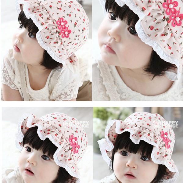 Hot Sales Kids Newborn Hats Baby Infant Lace Floral Flowers Cap Bonnet Hats Sun Hat Bucket(China (Mainland))