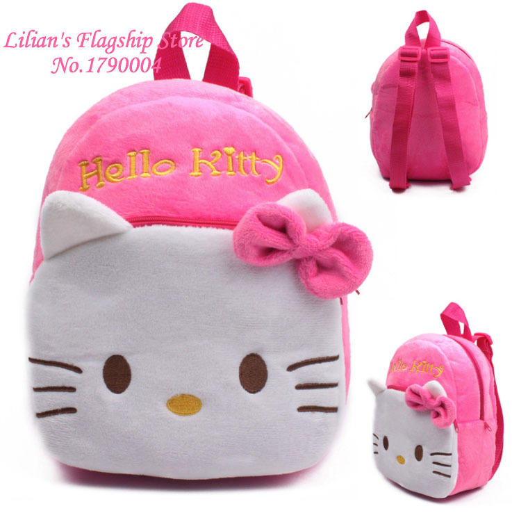 2015 High Quality Rose Red Hello Kitty Plush Cartoon Toy Backpack Girl Character School Bag Gift