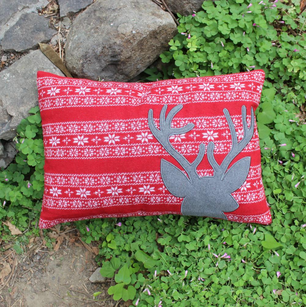 "VEZO HOME applique embroider christmas reindeer vintage jacquard sofa home decorative cushions throw pillows pillowcase20x14""(China (Mainland))"
