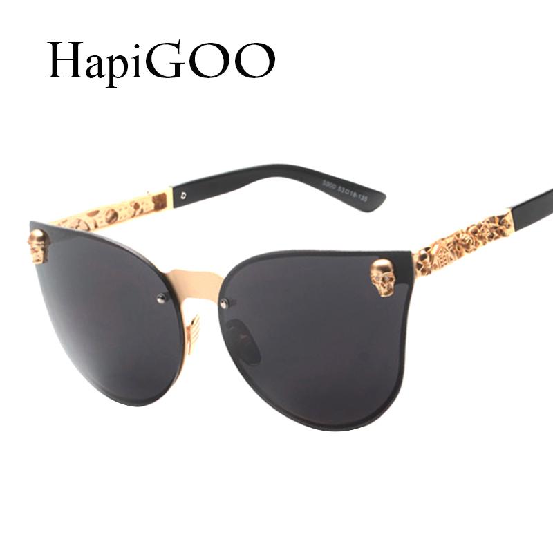 Glasses Frame Coating : HapiGOO Vintage Skull Cat Eye Sunglasses Women Rimless ...