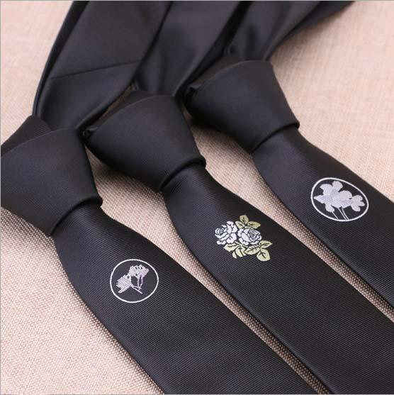 5CM Mens Fashion Disi black ties Flower logo casual personality skinny Ties slim party wedding neckties(China (Mainland))
