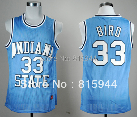 College Indiana State Sycamores #33 Larry Bird blue basketball ncaa jerseys mix order free shipping(China (Mainland))