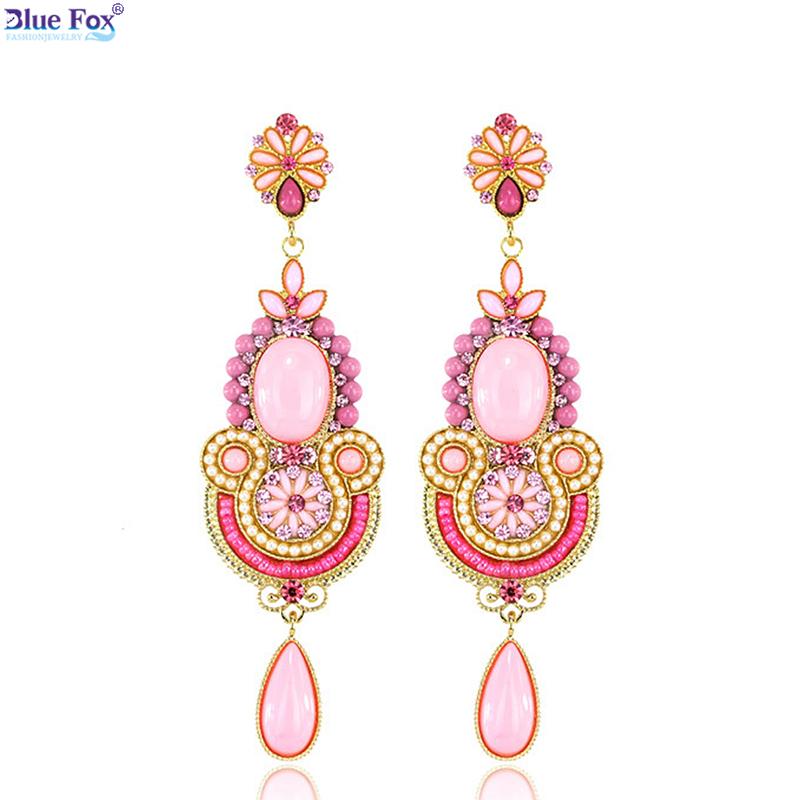 2016 Four-color Baroque Fashion Jewelry Long earring Alloy Vintage Big Drop Earrings Women A-D80 - Blue Fox Trade Co. store
