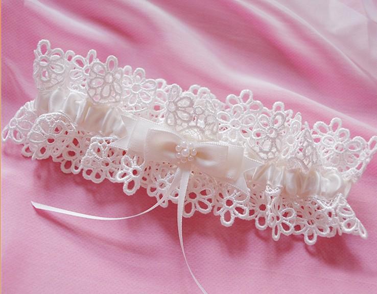 Free Shipping White Women's Sexy Lingerie Garter Lace Belt Legs Ring Harness Wedding Garters bridal Leg Garter Heart Garter