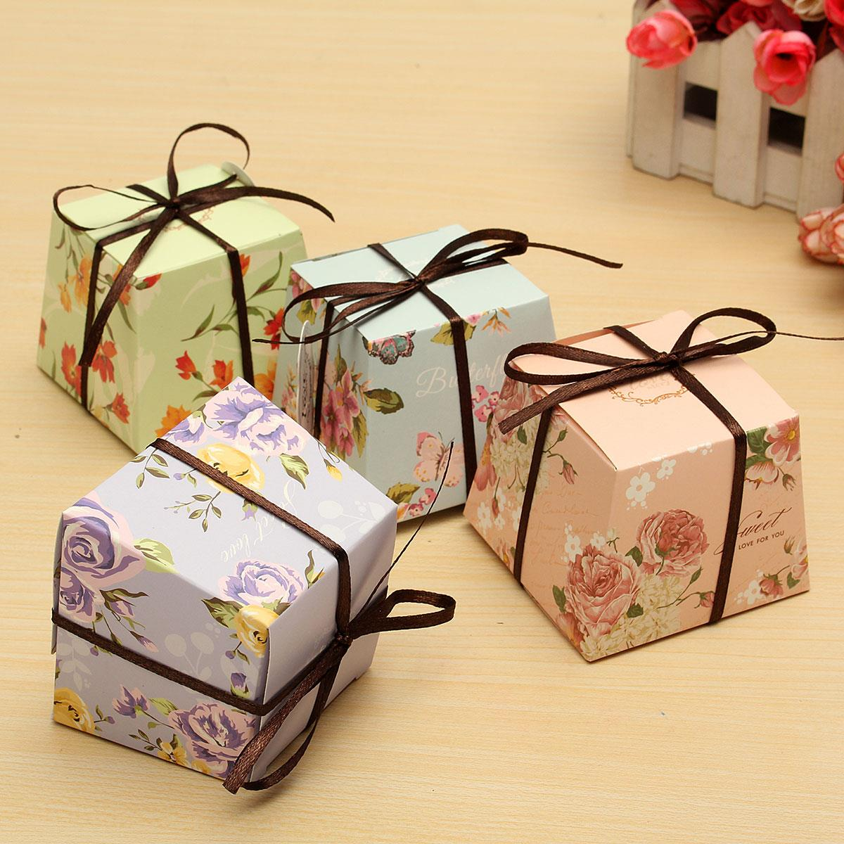 10 Pcs Floral Paper Candy Boxes Chocolate Box For Guest Wedding Favor Baby Shower Gift With Ribborns 4 Styles(China (Mainland))