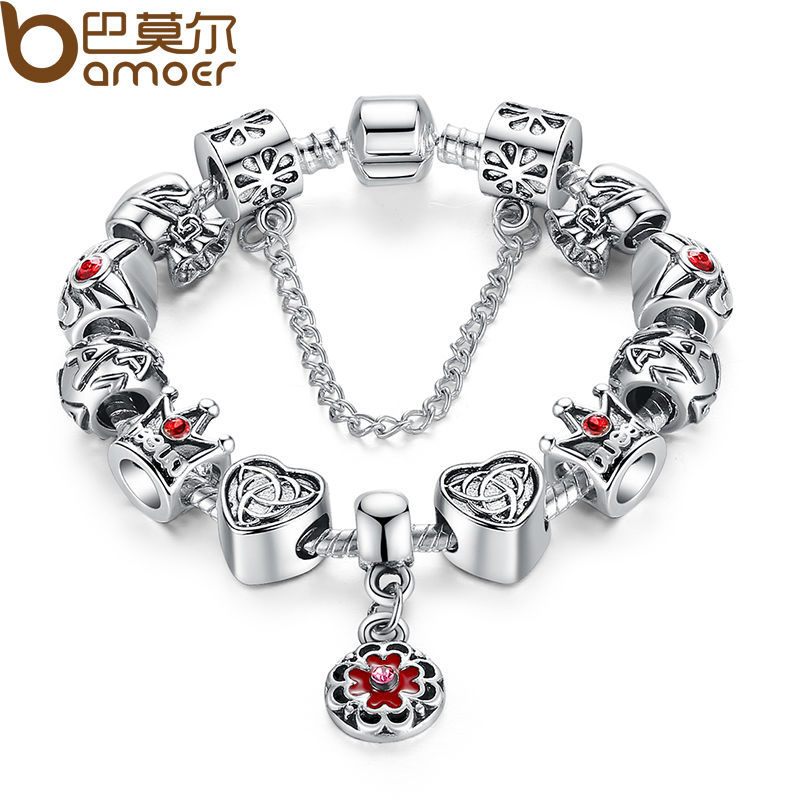 Vintage Heart Crown Bead Charm Bracelet Silver 925 for Women Original Safety Chain Jewelry PA1430(China (Mainland))