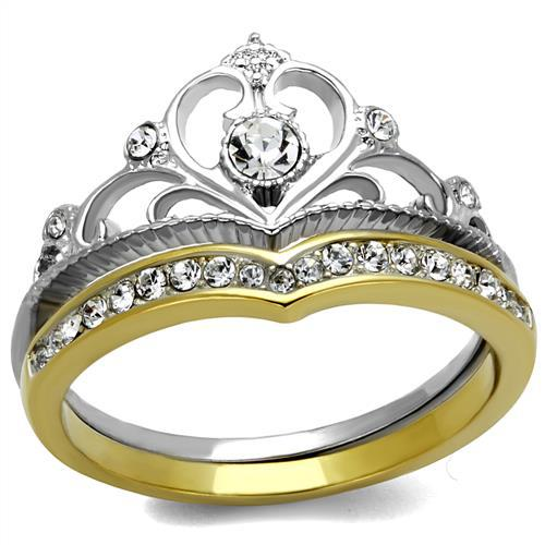 DC1989 IP Gold Plated Stainless Steel Premium Quality Crystal Ring High Polished Crown Design Set Rings Environmental Material(China (Mainland))