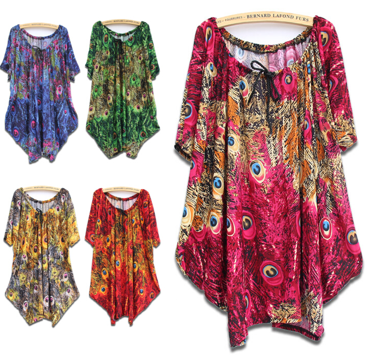 8 Colors 4XL 5XL 6XL Big Plus Size Bohemian Dress Women Casual Loose Summer Dresses Batwing Sleeve Clothing Tops For Big Women
