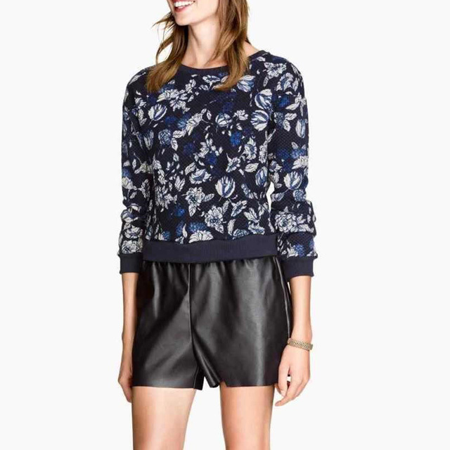 New Arrival Women's Jaquard Weave Sweatshirts Floral Printed Thicken Warm Cotton Pullover Long Sleeve Elegant Pullover GD0101(China (Mainland))
