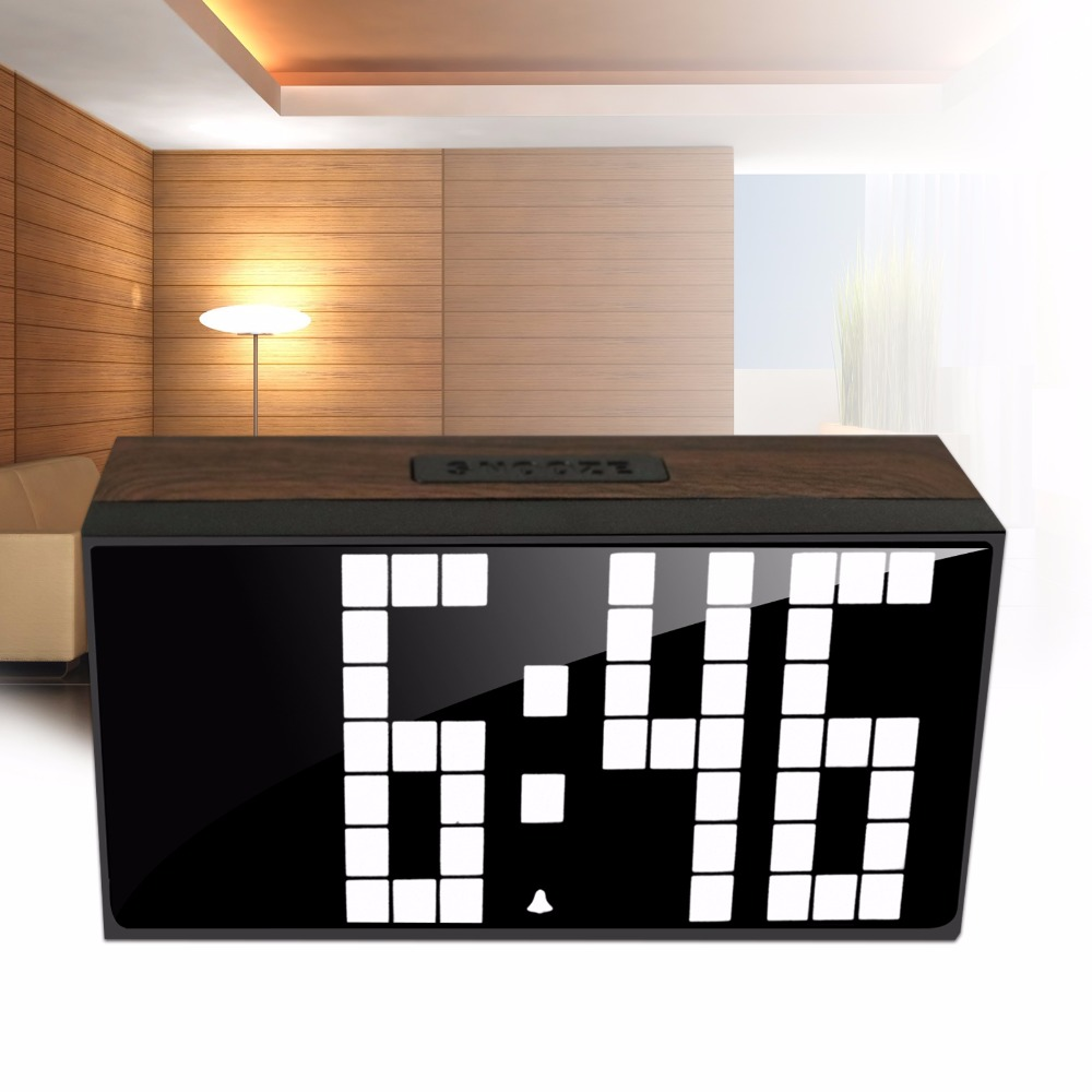 Big Digit White Wooden Wood Clock Led Digital Wall Clock Dual Alarm Watch Office Temperature Date Bedside Snooze Kitchen Timer(China (Mainland))