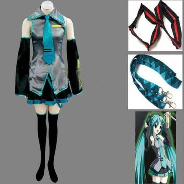 Vocaloid Hatsune Miku Cosplay Costume Clothes Theatrical Costume 10 piece tops+skirts+belt+tie+2 Gauntlets+2 socks free shippingОдежда и ак�е��уары<br><br><br>Aliexpress