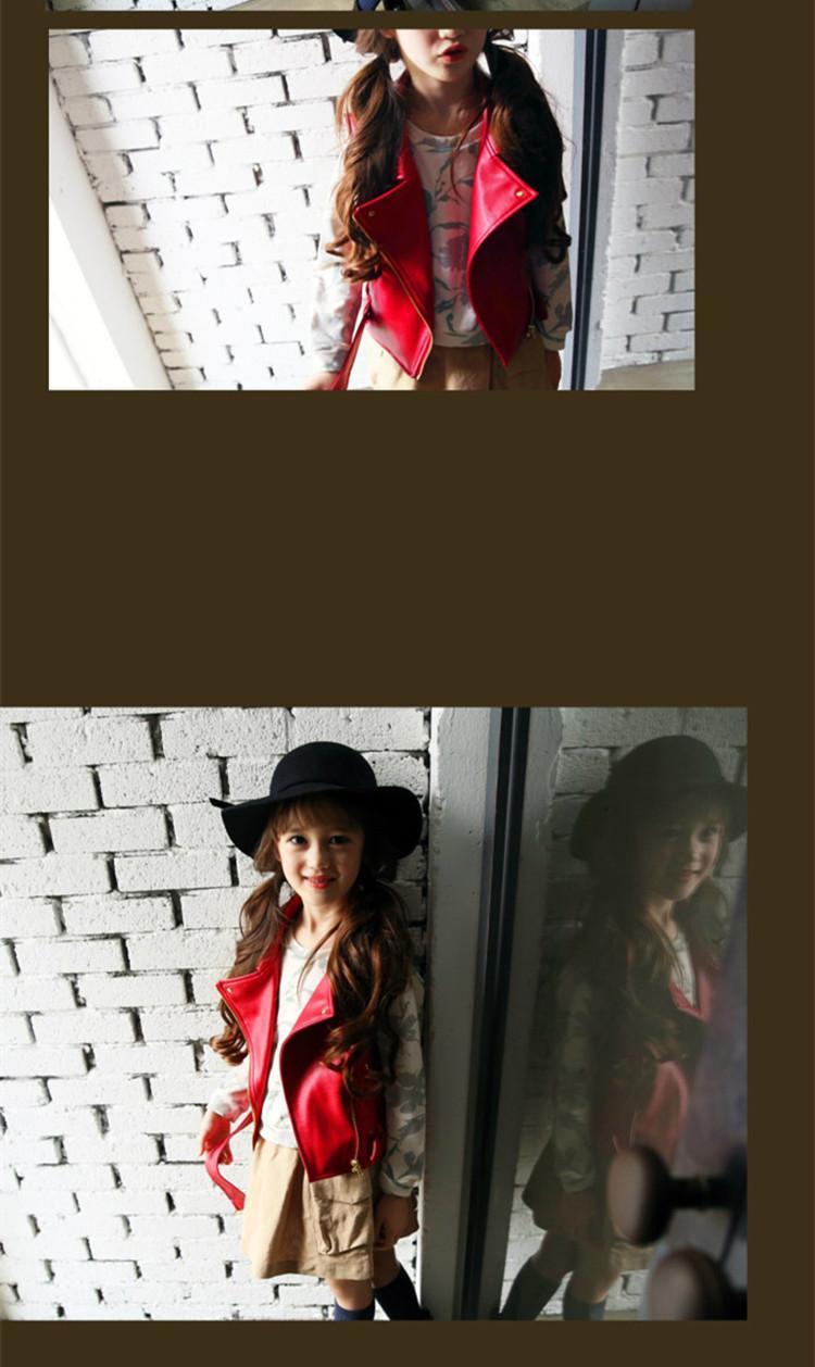 Скидки на 2016 Новые Девушки PU Мотоциклетная Куртка Детей Куртка Дети Мода Осень Пальто Малышей Высокого Качества Пальто Два Стиля Носить, 2-10Y