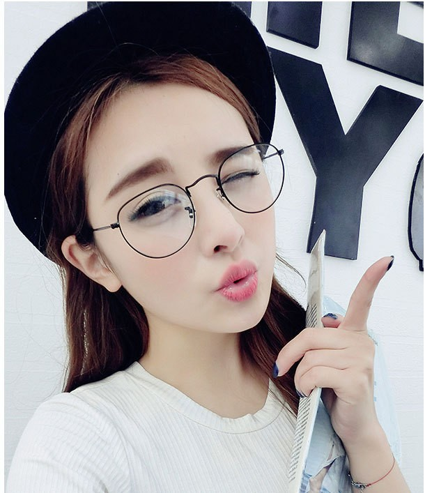 100829568bc 2015 Metal Round Circle Clear Lens Eyeglasses Small Size Thin Frame Unisex  Glasses