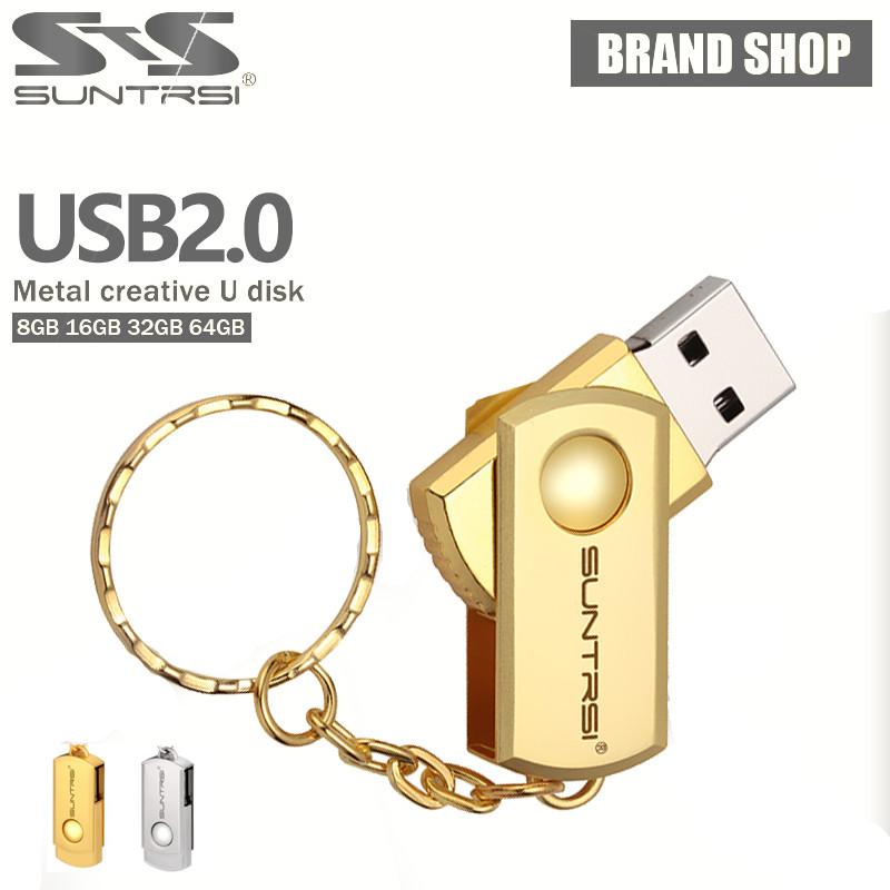 Suntrsi USB Flash Drive Swivel Pen Drive 32GB Stainless Steel Pendrive 16GB/8GB/4GB Metal USB Stick High Speed Memoria USB(China (Mainland))