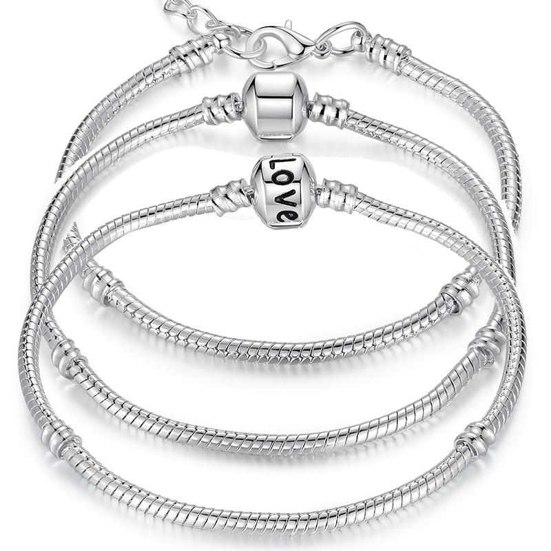 5 Style 925 Silver Snake Chain Bracelet Fit Pandora Bracelet & Bangle Chain Charm Beads 16CM-21CM Pulseras PA1104(China (Mainland))