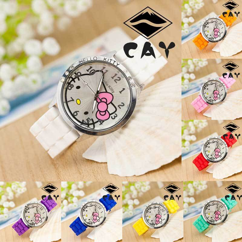 Fashion Cute Lovely Hello Kitty Design Kitty Cat 9 Colors Silicone Band Crystal Wristwatches Watch for Children Kids Boys Girls(China (Mainland))