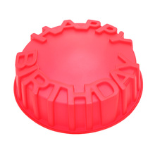 Round Baking Cake Pan Mold Happy Birthday Letters Embossing Craft DIY Decorating Tool Kitchen Accessories(China (Mainland))