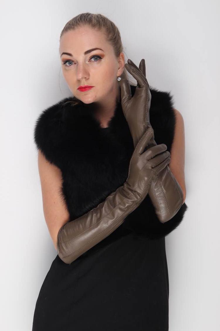 "47cm(18.5"") long elbow length long lines style top goat leather gloves top goat leather evening long gloves khaqi(China (Mainland))"