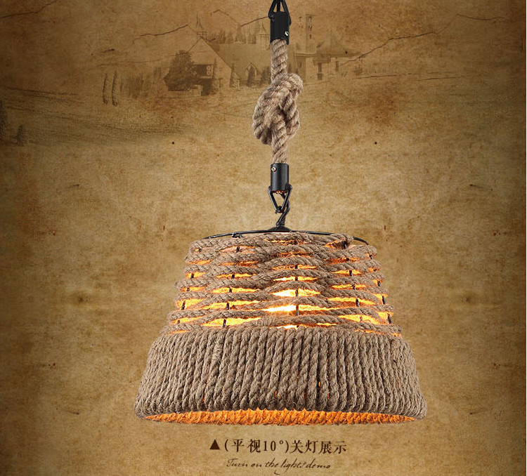 New Arrival Creative Retro Countryside Hemp Rope Pendant Lights 31-40w Vintage Lamp Incandescent Edison Bulbs Loft Casquillo E27(China (Mainland))