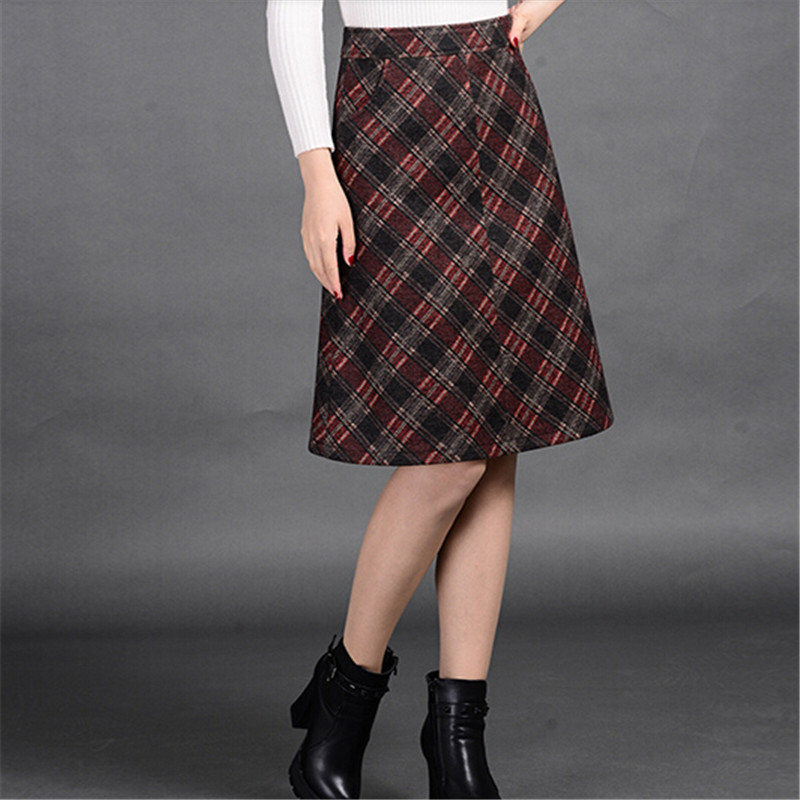 New Arrival Womens Plaid Skirt Fashion A-Line Woolen Plaid Skirt Womens Clothing All-Match Faldas Plus Size Winter Skirt C1374Одежда и ак�е��уары<br><br><br>Aliexpress
