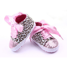 New Infant Toddler Leopard Sequins Sneakers Baby Girls Soft Sole Crib Shoes 3-12 Months 11/12/13cm(China (Mainland))