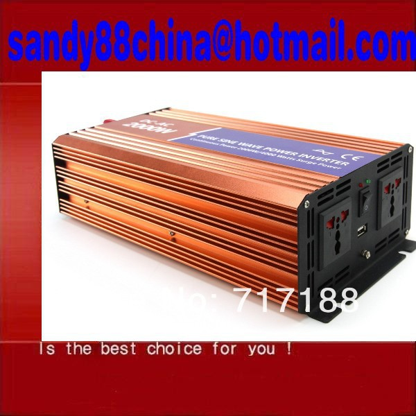 NEW 2000W Car 12V DC in 120v AC out Power Inverter pure sine wave inverter free shipping(China (Mainland))