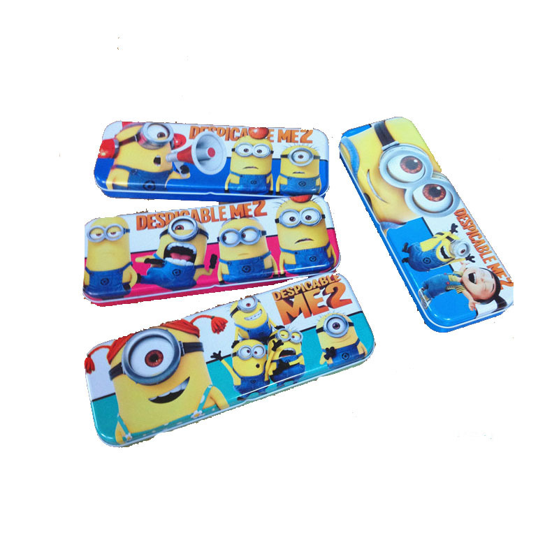 2015 New fashion American stationery Small yellow man tin pencil case /student Storage Box 4color for you choose(China (Mainland))