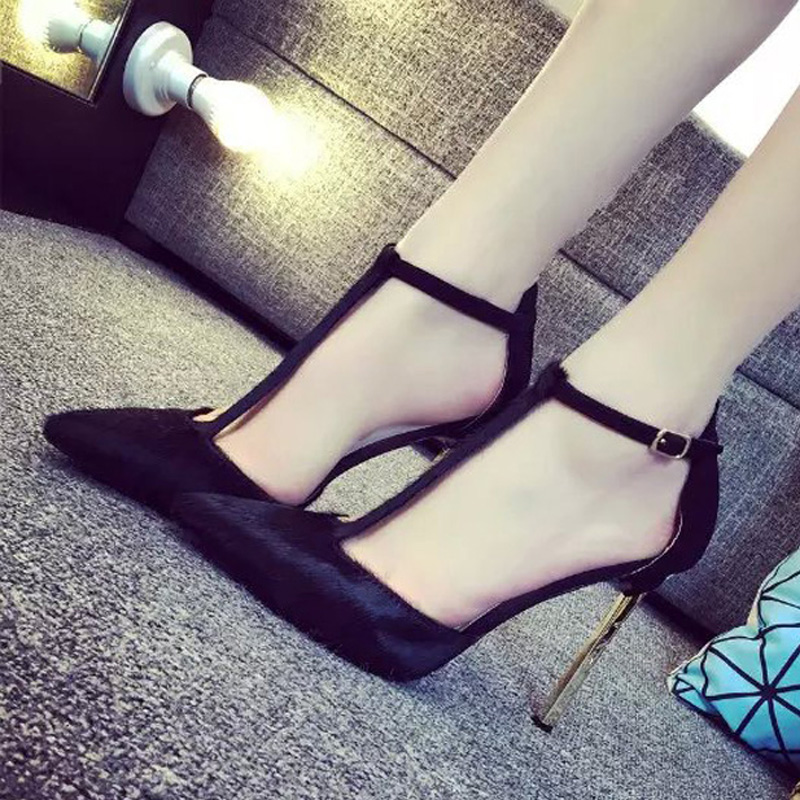 2016 spring and autumn high-heeled shoes female sandals genuine leather thin heels shallow mouth pointed toe button womens<br><br>Aliexpress