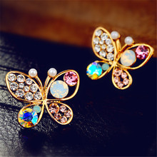 18KG Plated Luxury Hollow Shiny Colorful Crystal Earring Simulated Pearl Butterfly Stud Ear rings Wedding Party Say Love Gifts(China (Mainland))