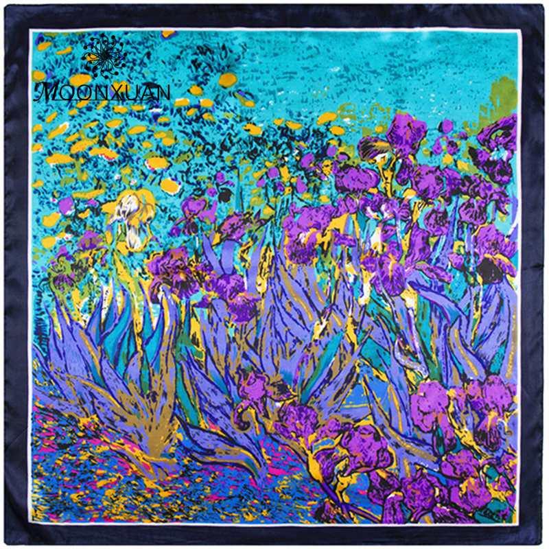 Size 60*60 cm spring&summer women's scarf fashion lady silk scarfs 2016 Charm Tulip flower pattern digital print female muffler(China (Mainland))