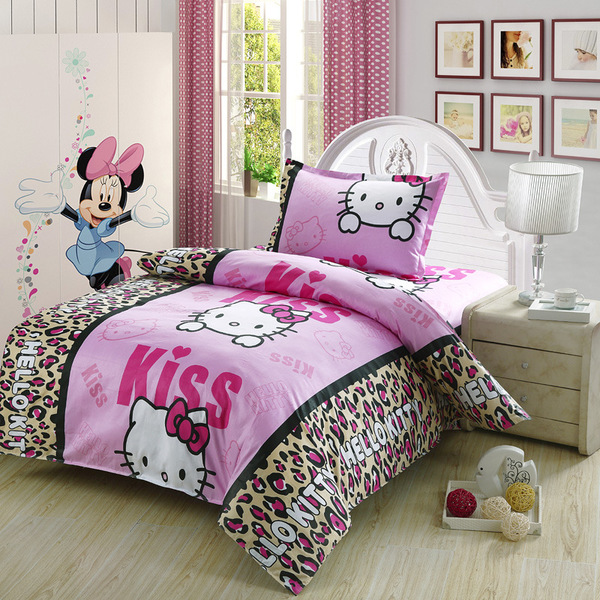 2015 Hello Kitty Queen Size Bedding Comforter Set Wholesale Cotton Single School Students Necessary Bed 3 Piece Suit Bedding(China (Mainland))