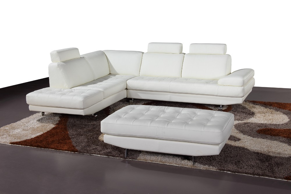 Sectional sofas living room furniture 2014 modern living room couch set with cube Ottoman # 633-1(China (Mainland))