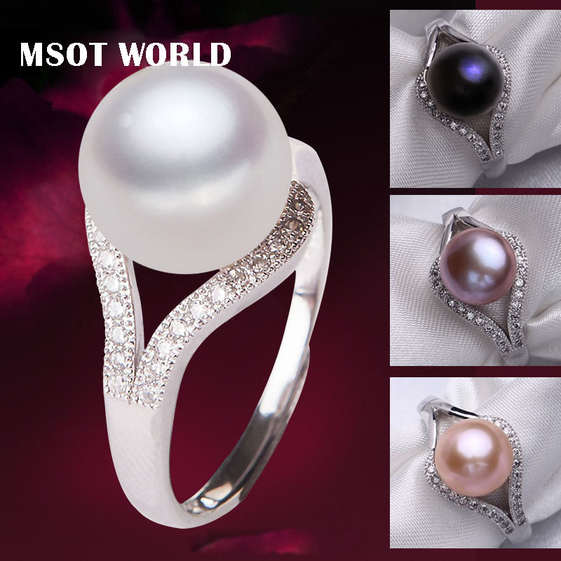 Fine PearlJewelry Freshwater Pearl Ring Genuine 925 Sterling Silver Rings For Women Natural Vintage Wedding Real Pearl Ring(China (Mainland))