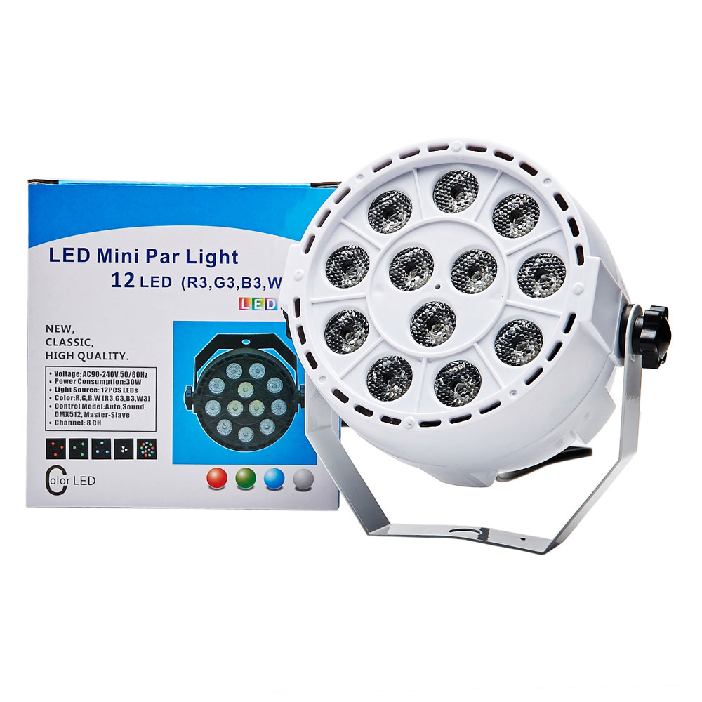 US stock Voice controd DMX Control 12 LED RGBW Color Mixing Par Spot Light Disco Party DJ Music Show Projector Lighting Effect(China (Mainland))